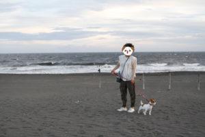 夕焼けとJRT子犬のテバちゃん