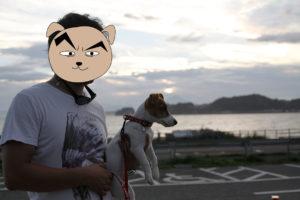 海と夕日と子犬
