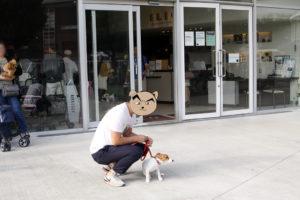 1階表側から見たペットショップと子犬テバちゃん